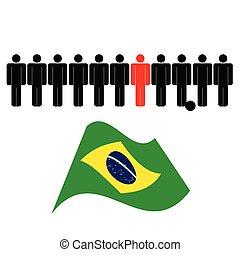 brasil, pessoas colorem, bandeira, vetorial, ícone