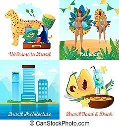 brasil, plano, cuadrado, iconos, viaje, 4