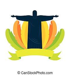brasil, plumas, carnaval, corcovado