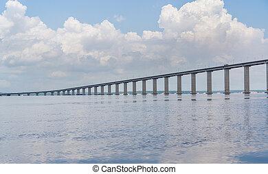 brasil, ponte, también, manaus, negro, río, iranduba, ...