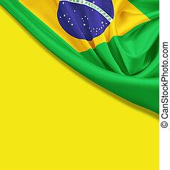 brasil, recorte, amarillo, fondo., bandera, trayectoria
