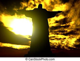 brasil, reedemer, cristo, famoso, de, río, estatua, janeiro