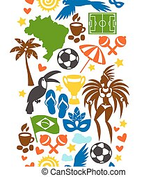 brasil, símbolos, padrão, seamless, stylized, cultural, objetos