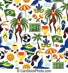 brasil, símbolos, padrão, seamless, stylized, cultural, ...