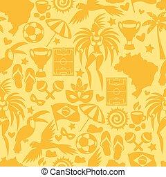 brasil, símbolos, patrón, seamless, estilizado, cultural, ...