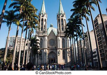 brasil, sao, da, medio, paulo, catedral, sé
