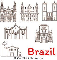 brasil, señales, arquitectura, vector, línea, iconos
