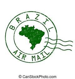 brasil, selo, escritório, correio aéreo, poste