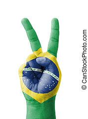 brasil, sinal, mão, pintado, bandeira, v, fazer