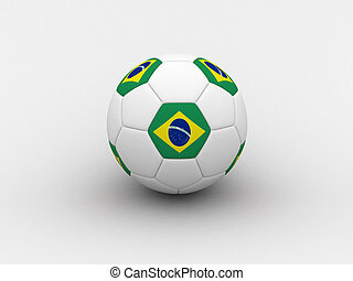 Brasil soccer ball - Photorealistic 3D soccer ball isolated...