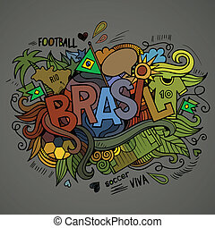 Brasil Summer Vector hand lettering and doodles elements...