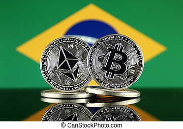 brasil, términos, flag., (btc), bitcoin, cryptocurrencies, 2...