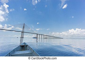 brasil, también, centro, ponte, manaus, negro, río, iranduba...