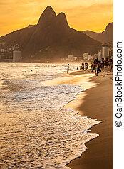 brasil, tarde, playa, ipanema, vista