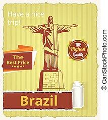 brasil, travel., vector, turism, bandera