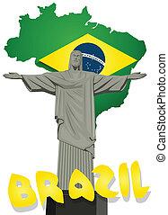 brasil, vector, con, cristo redentor, estatua