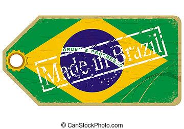 brasil, vendimia, bandera, etiqueta
