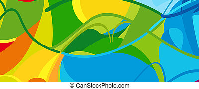 brasil, verão, olímpico, crianças, bandeira, paralympic, acampamento, rio, jogos, abstratos