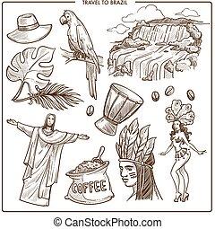brasil, viaje, señales, y, famoso, turismo, símbolos,...