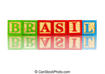 brasil word reflection on white background