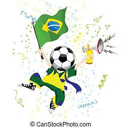 brasileño, futbol, ventilador, con, pelota, head.