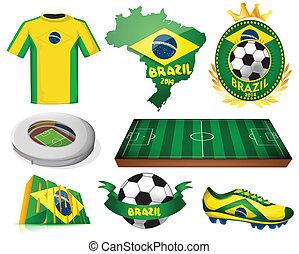 brasile, calcio, vettore, illustrazione