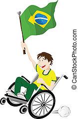 brasile, carrozzella, bandiera, ventilatore, sport, sostenitore