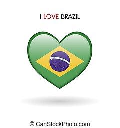 brasile, cuore, amore, simbolo., bandiera, lucido, icona