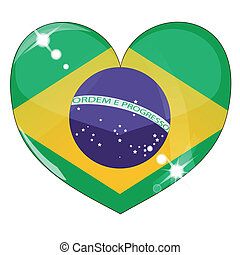 brasile, cuore, bandiera, vettore, struttura