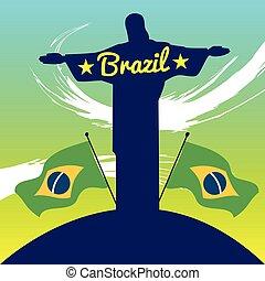 brasile, disegno astratto, statua