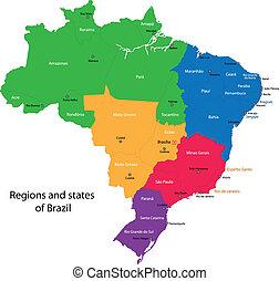 brasile, mappa, colorito
