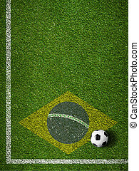 brasile, palla calcio, campo, bandiera, erba