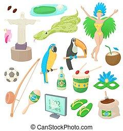 brasile, set, stile, cartone animato, icone