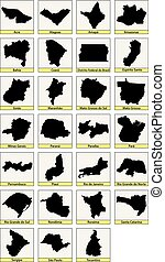 brasile, sette, venti, mappe, suddivisioni, nero