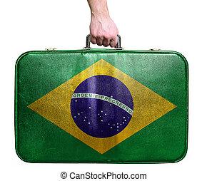 brasile, turista, cuoio, vendemmia, viaggiare, sacco mano, bandiera, presa a terra
