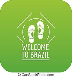 brasile, vettore, verde, icona