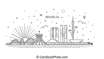 Brasilia architecture vector line skyline illustration. Brazil