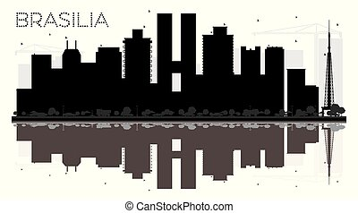 Brasilia Brazil City Skyline Black and White Silhouette with Reflections.