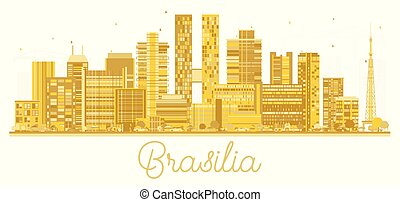 Brasilia Brazil City Skyline Silhouette with Golden Buildings Isolated on White.