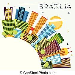 Brasilia Brazil City Skyline with Color Buildings, Blue Sky and Copy Space.