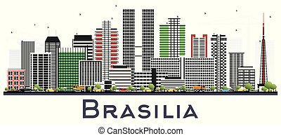 Brasilia Brazil City Skyline with Gray Buildings Isolated on White.