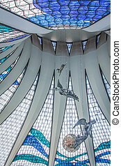 Brasilia Cathedral - View of the stained glass roof inside ...