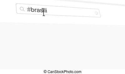 Brasilia hashtag search through social media posts animation