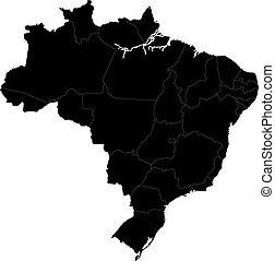 brasilia, schwarz, landkarte