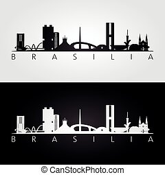 Brasilia skyline and landmarks silhouette