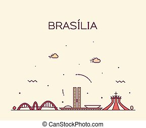 Brasilia skyline, Brazil vector linear style city