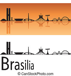 Brasilia skyline in orange background in editable vector...