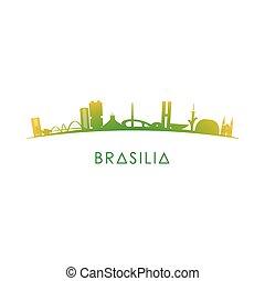 Brasilia skyline silhouette.