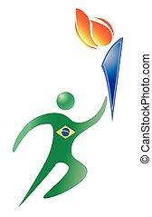 brasilia sport logo on the white background. burning torch