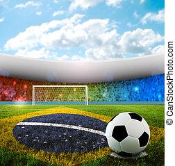 Brasilian Soccer - Soccer ball on penalty disk in brazilian...